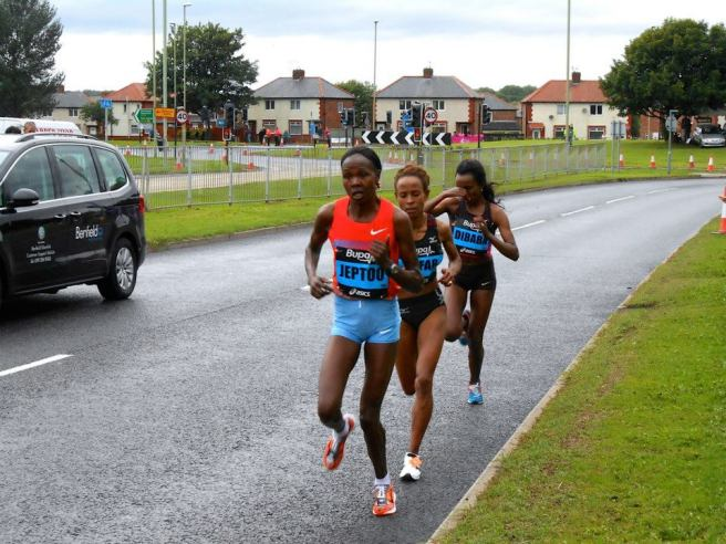 Oh, and there's Jeptoo. She recorded the third-best time ever achieved by a woman on the course.
